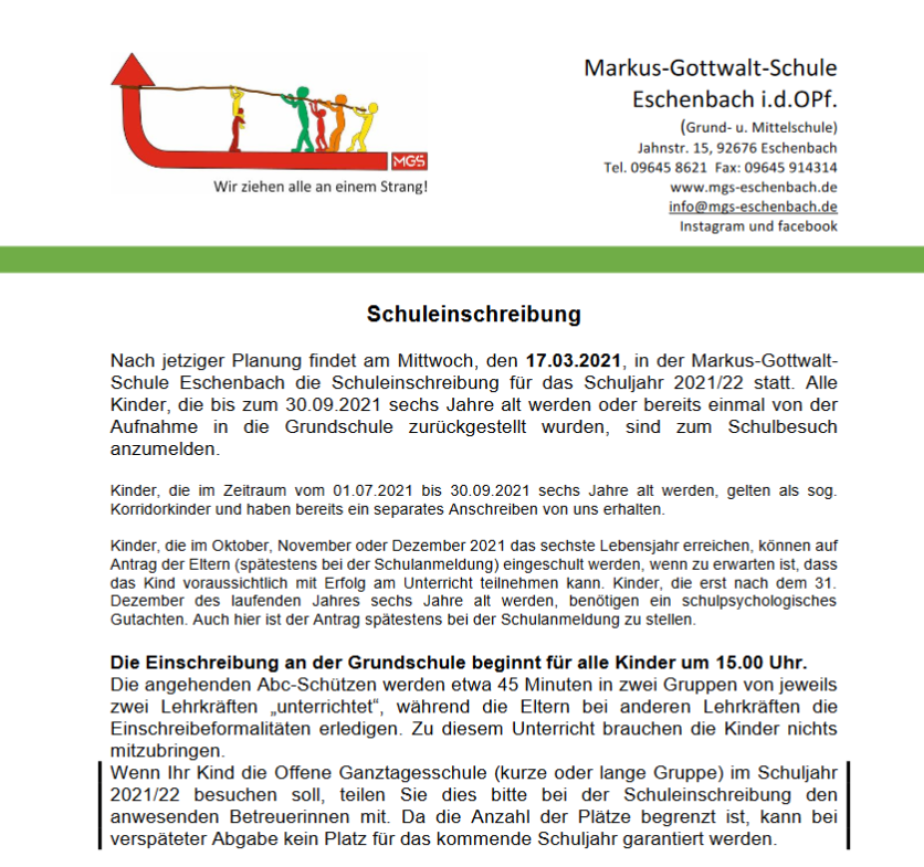 Read more about the article Schuleinschreibung 2021