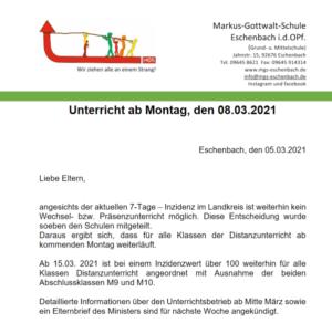 Eltern Info Unterricht ab Montag, 5.3.