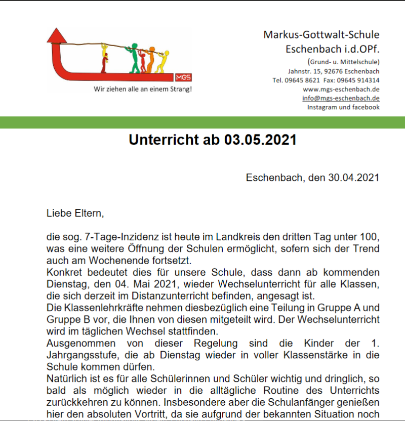 Read more about the article Elternbrief Mai 2021