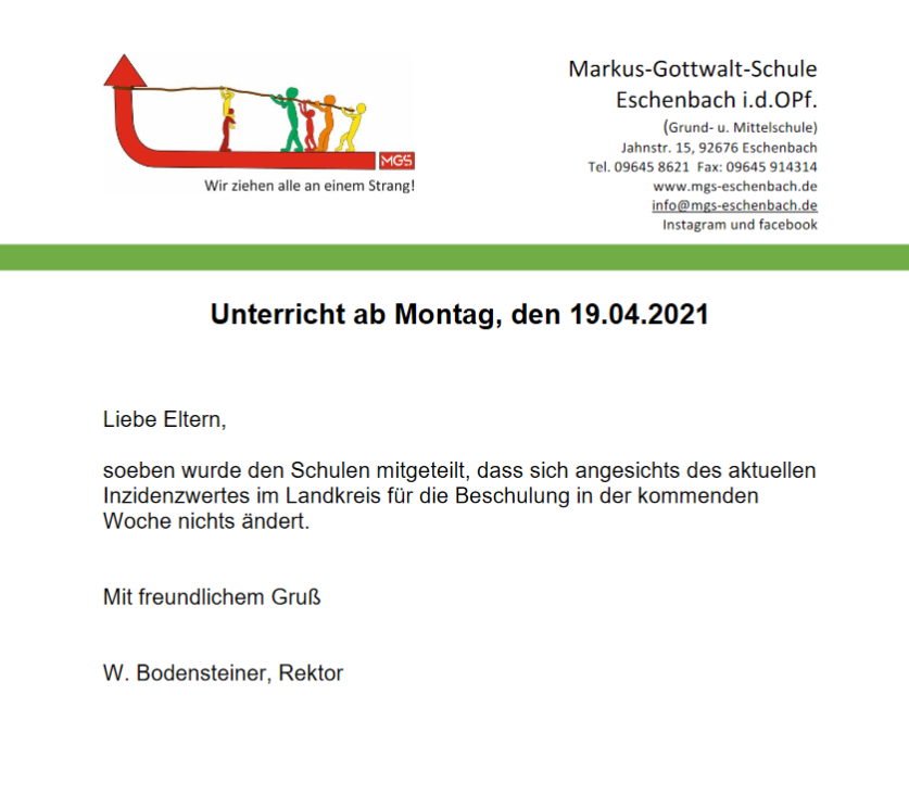 Read more about the article Unterricht ab 19.4.´21