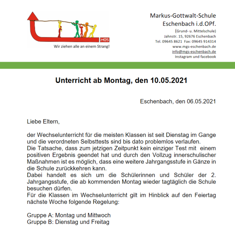 Read more about the article Unterricht ab 10.05.21
