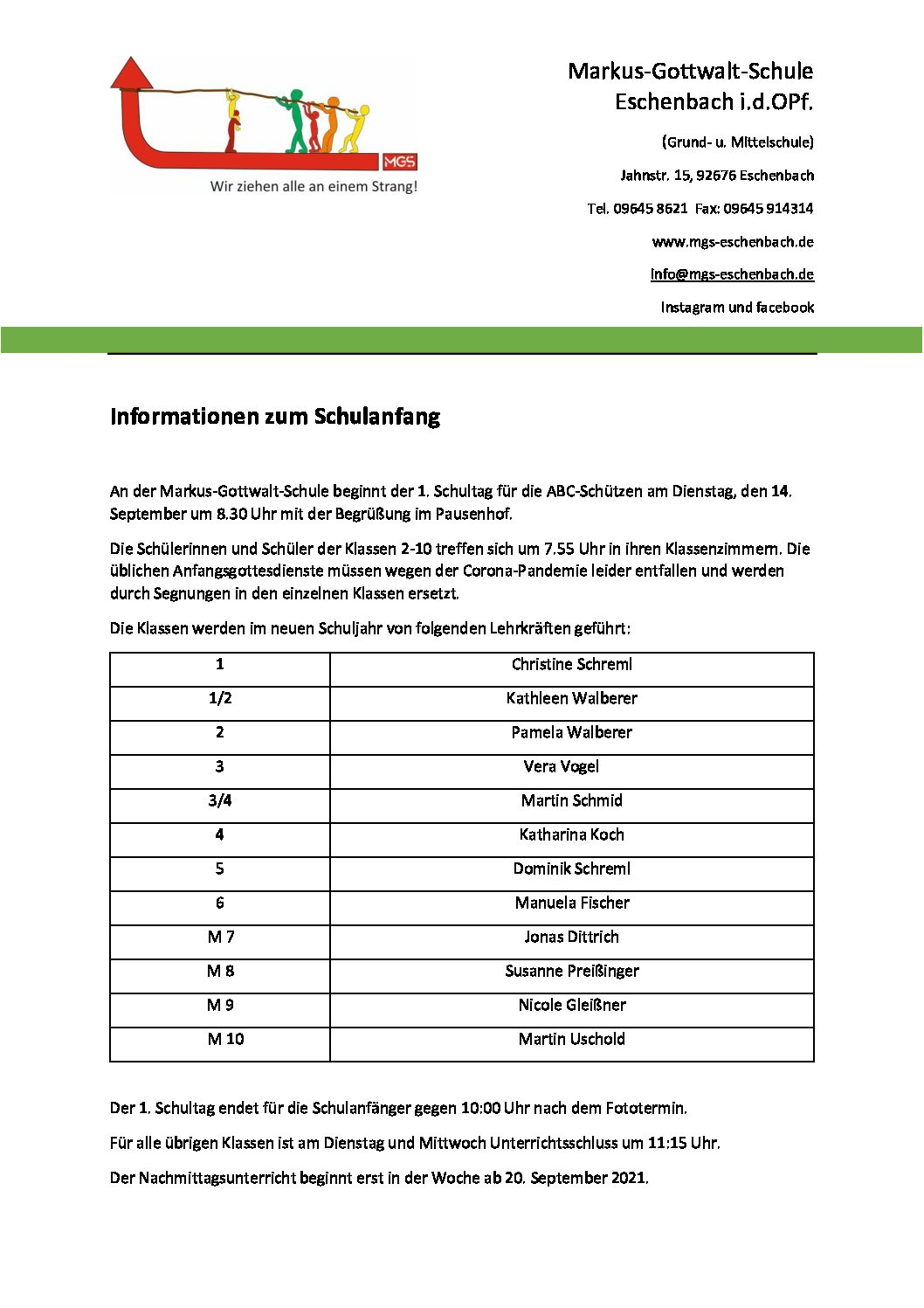 Read more about the article Informationen zum Schulanfang